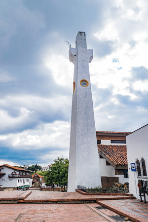 GUATAVITA CUNDINAMARCA, COLOMBIA - DECEMBER 26, 2017: Beautiful colonial architecture of the towns church.