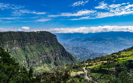 Beautiful typical landscape of the mountainous area of Colombia composed of green valleys and mountains
