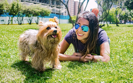 Latin woman with sunglasses enjoying a quiet afternoon in the park with her faithful canine friend, a beautiful Yorkshire Terrier