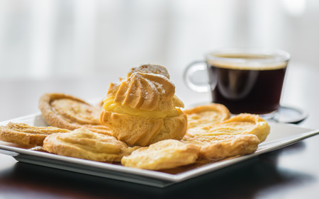 Colombian bakery products ready to eat accompanied by a cup of coffee