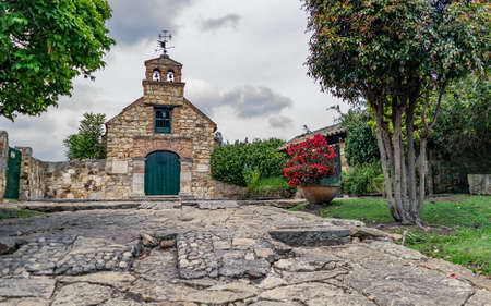 TABIO CUNDINAMARCA, COLOMBIA - MARCH 03, 2019: Chapel of Santa Barbara, one of the first churches of the colonial period made entirely of stone