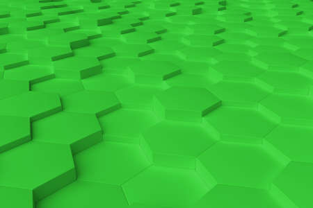 Green monochrome hexagon tiles, perspective, abstract background, horizontal Stock Photo