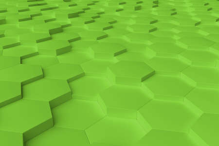 Lime monochrome hexagon tiles, perspective, abstract background, horizontal