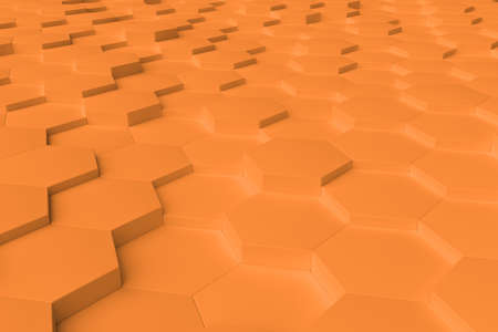 Orange monochrome hexagon tiles, perspective, abstract background, horizontal
