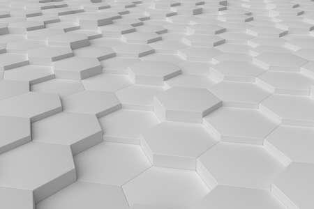 White monochrome hexagon tiles, perspective, abstract background, horizontal Stock Photo