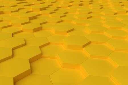 Yellow monochrome hexagon tiles, perspective, abstract background, horizontal