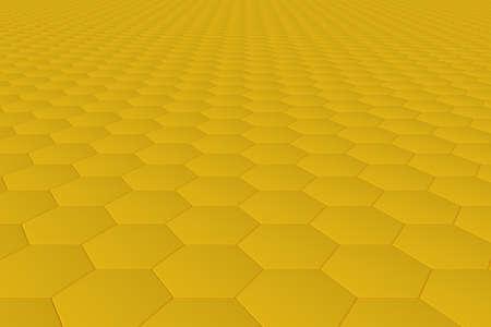 Yellow monochrome hexagon tiles, perspective, abstract background horizontal