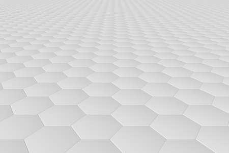 White monochrome hexagon tiles, perspective, abstract background horizontal Stock Photo
