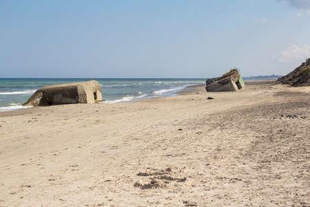 German World War II bunkers, Skiveren beach, Denmark