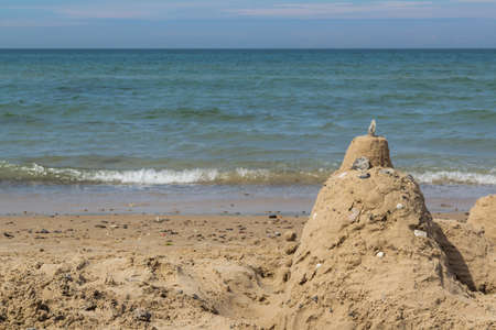 Sand castle on beach with ocean in background