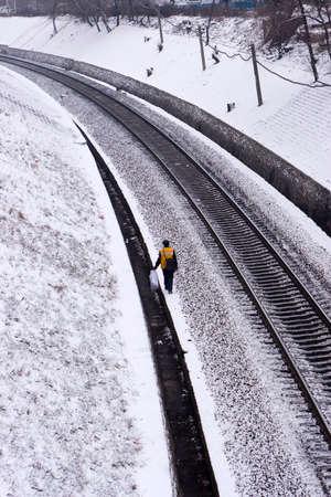patrolling: Railway worker patrolling  Stock Photo