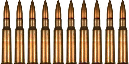 full jacket bullet: 7.62x54r rifle cartridge for Russian made Mosin Nagant rifle arranged in seamless tileable pattern.  This was ammunition used extensively by the red army and their snipers during world war two the Great Patriotic War.