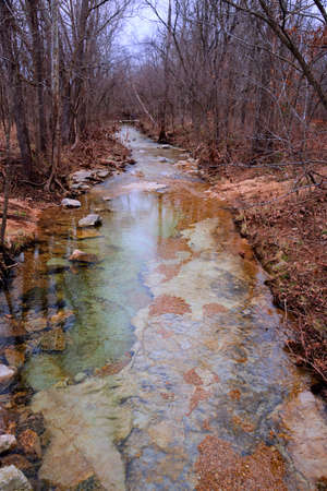rivulet: Small clear woodland stream in the Missouri Ozarks during the fall-winter season. Stock Photo