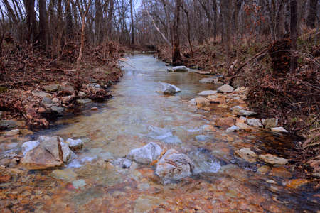 thickets: Small clear woodland stream in the Missouri Ozarks during the fall-winter season. Stock Photo