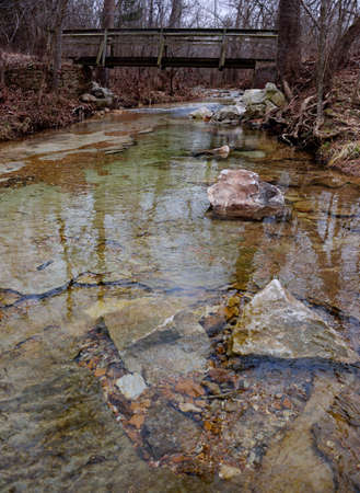streamlet: Small clear woodland stream in the Missouri Ozarks during the fall-winter season. Stock Photo