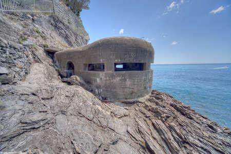 Monterosso al Mare, Liguria, Italy - 05202016 - German WW2 (II World War) bunker or pill box in Cinque Terre at the town of Monterosso al Mare in Liguria on the Italian Riviera