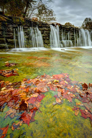 Millpond Waterfall at Lindenlure, Missouri in the Ozarks. Stock Photo