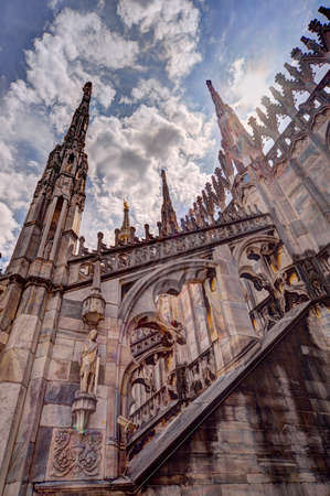 Milan, Italy - 05202017: Milan Cathedral (Italian: Duomo di Milano), the cathedral church of Milan, Italy, dedicated to St. Mary of the Nativity. Editorial