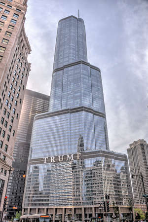 Chicago, Illinois - May 17, 2017: The Trump International Hotel & Tower in Chicago. Completed in 2008 it is among the tallest buildings in the world at over 1,300 feet.