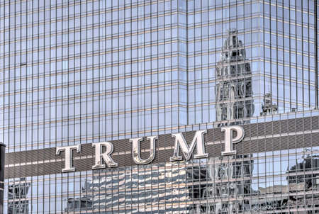 Chicago, Illinois - May 17, 2017: Detail of The Trump International Hotel & Tower in Chicago. Completed in 2008 it is among the tallest buildings in the world at over 1,300 feet.