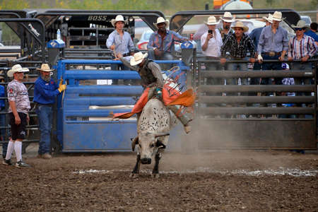 Lawrence, Kansas - August 4, 2018: Bull riding competition at the Betsworth Bull Bash in Lawrence, Kansas at the Douglas County Fairgrounds. Editorial use only. Editorial