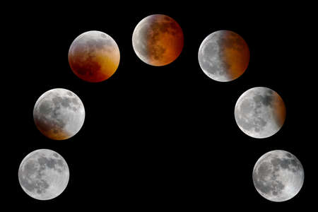 Lunar eclipse. Series of images of a total lunar eclipse in sequence, isolated on black background.  This was the super, blood, wolf moon of January 20, 2019 as seen from Missouri, USA.