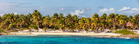 Beautiful panoramic view of a beach in Mexico. Turquoise waters and palm trees in the foreground and blue sky with clouds as a background.