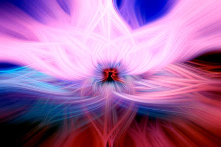 Beautiful abstract intertwined 3d fibers forming a shape of sparkle, flame or flower. Pink, blue, and red colors. Illustration.