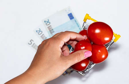 Shot of tomatoes in shopping cart isolated on white background with euro bills under it and womans hand reaching for tomato. Top view. Ripe tasty red tomatos in shopping cart. Tomato trading concept. Online shopping concept.