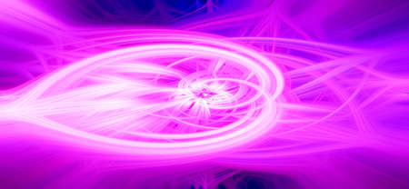 Beautiful abstract intertwined glowing 3d fibers forming a shape of sparkle, flame, flower, interlinked hearts. Pink, purple, blue, and maroon colors. Banner size. Illustration.