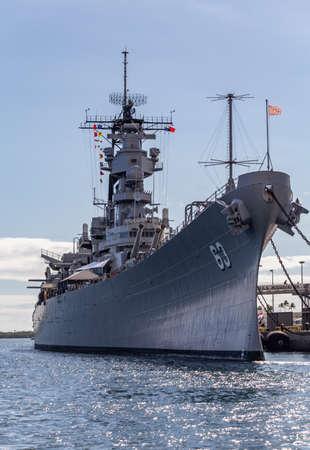 Pearl Harbor, Hawaii, USA - September 23, 2018: USS Missouri docked in Pearl Harbor.
