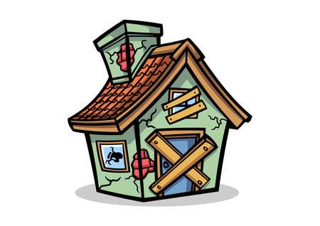 Abandon House Mascot Design Vector