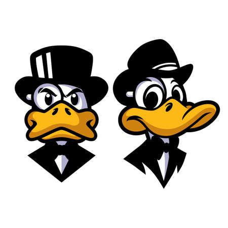 Duck in Black Mascot Design Vector