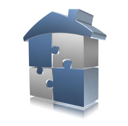 entreprise puzzle: Puzzle 3D maison, argent et bleu Banque d'images