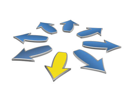 8 blue arrows and one yellow, isolated on a white backgrounds