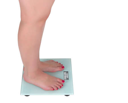 Digital scale stop eating, isolated on a white backgrounds Standard-Bild