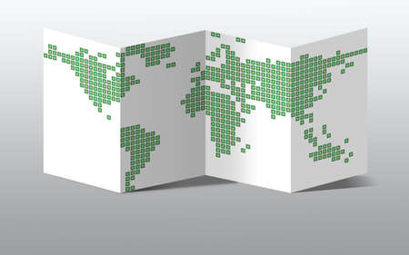 Dotted green world map, isolated on a white paper Standard-Bild