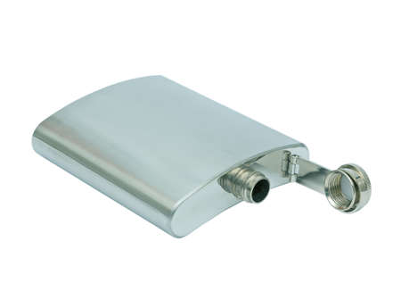 Stainless steel hip flask, isolated on a white background