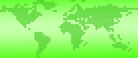 World map green dotted, isolated on a white background photo