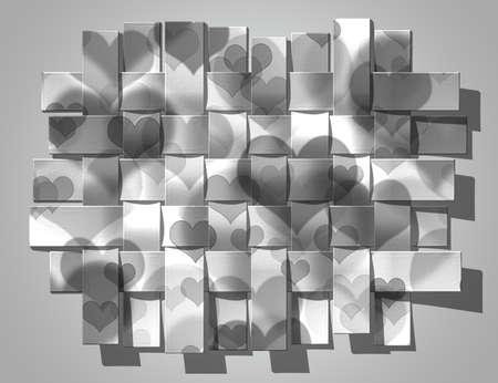 beautiful silver tape heart on a silver background Standard-Bild
