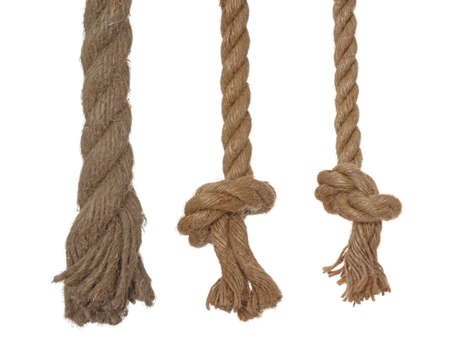 3 linen ropes, isolated on a white background
