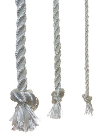 3 otton ropes with knots, isolated on a white background