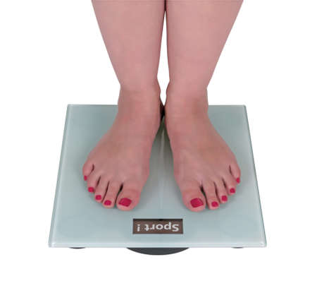 Digital scale says sport, isolated on a white background photo