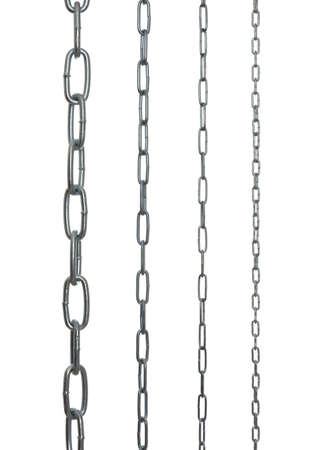 collection of metal chains, isolated on a white background