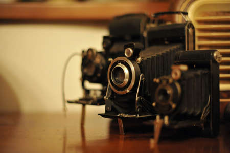 viewfinder vintage: A detail of a collection of vintage camera Stock Photo