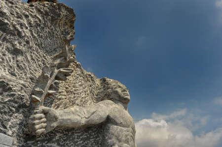 mariner: Stone Sculpture To The Port Of Alassio, Liguria, Italy