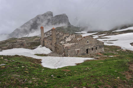 barracks: Rests of military barracks in mountain over the col du Mont Cenis Stock Photo