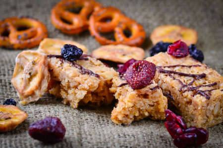 Grazing snack food flapjack and dried berries and fruit Stock Photo