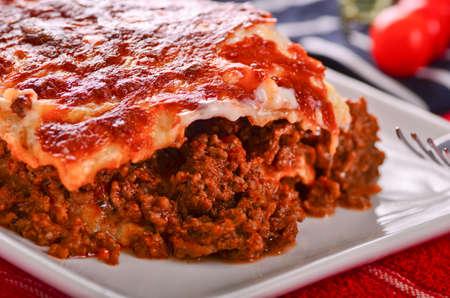 Delicious home made lasagna Stock Photo
