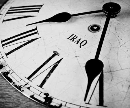 middle east conflict: Iraq time concept black and white